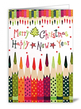 CARD - MERRY CHRISTMAS HAPPY NEW YEAR (WITH ENVELOPE)