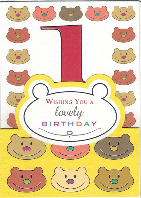 WISHING YOU A LOVELY 1ST BRITHDAY - CARD WITH ENVELOPE