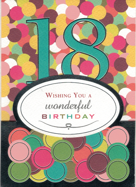 WISHING YOU A WONDERFUL 18TH BIRTHDAY - CARD WITH ENVELOPE