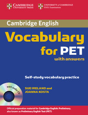 CAMBRIDGE VOCABULARY FOR PET WITH KEY + CD