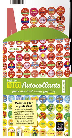 NOUVEAU PACK DE 1000 AUTOCOLLANTS POUR L'ÉVALUATION EN ANGLAIS